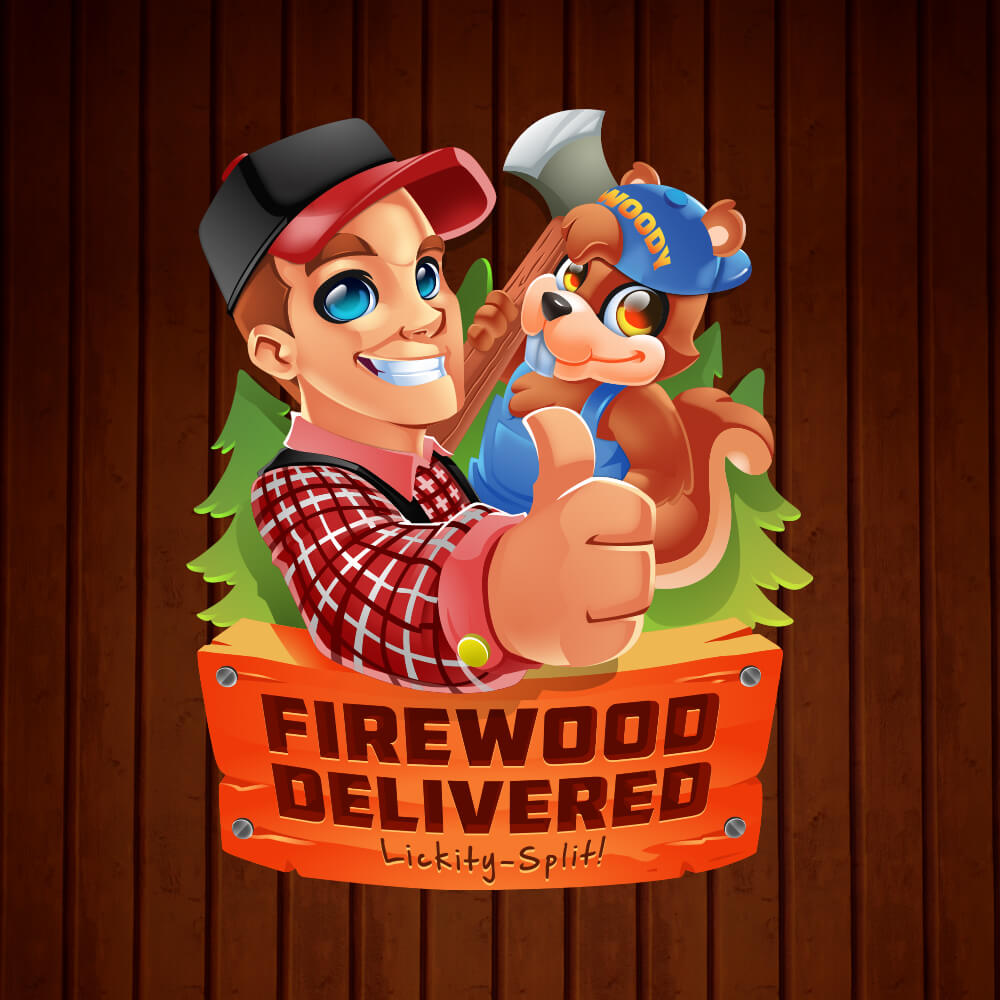 Firewood Delivered Mascot Design